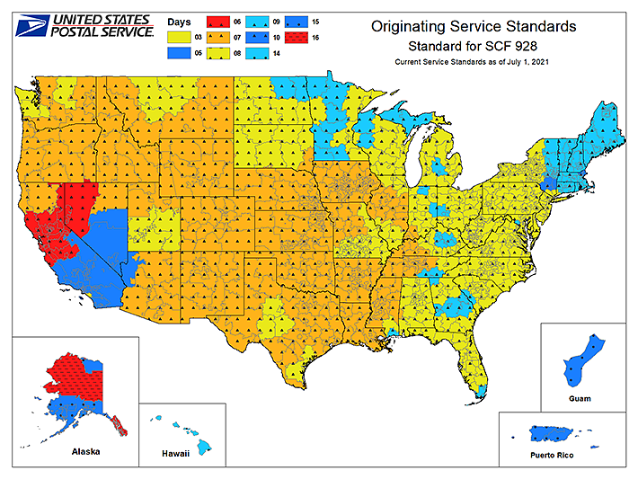 USPS Delivery Times First Class And Standard Mail - Us postal service delivery times map