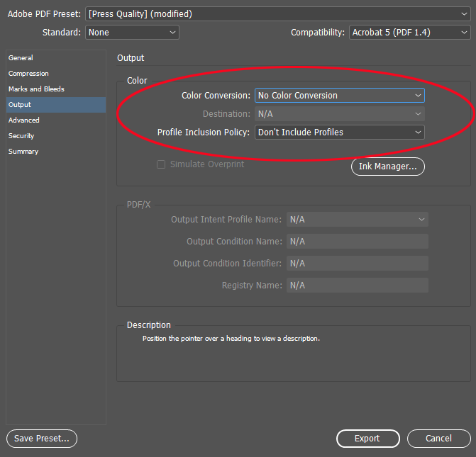 Indesign export as PDF dialog box
