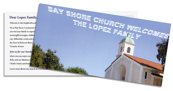 variable data postcard with photo of church