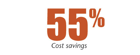 55 percent cost savings