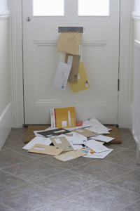 pile of envelopes on floor