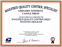 USPS Mailpiece Quality Control Certification