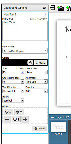 design online text box options